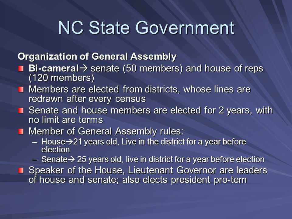 NC State Government Organization of General Assembly