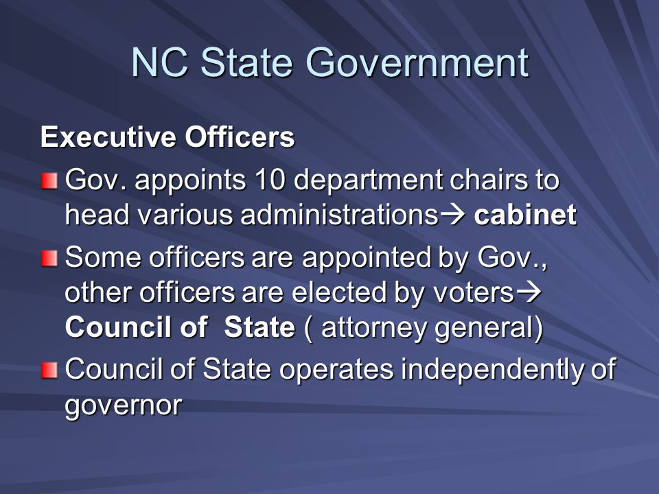 NC State Government Executive Officers