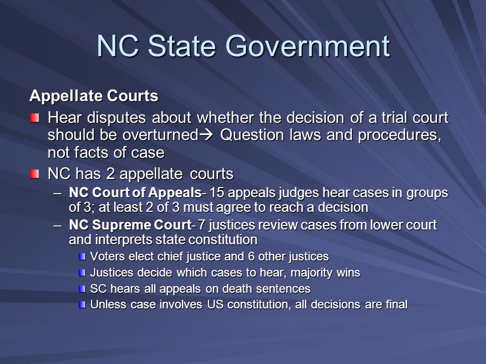 NC State Government Appellate Courts