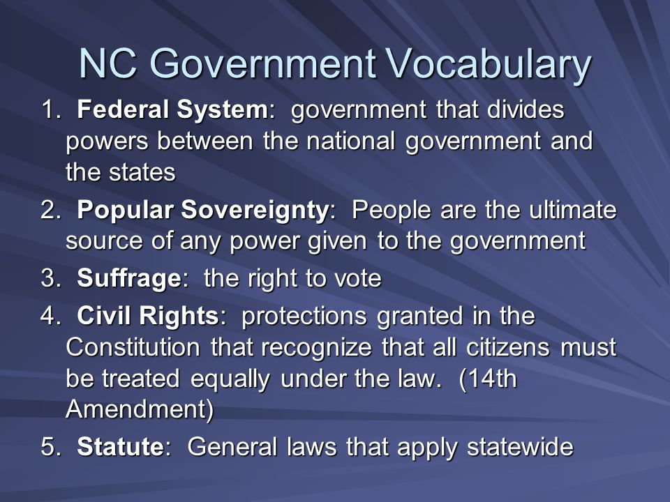 NC Government Vocabulary
