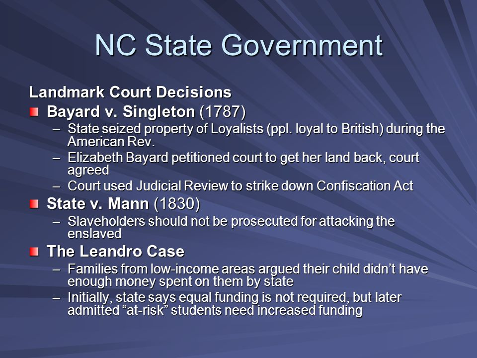 NC State Government Landmark Court Decisions