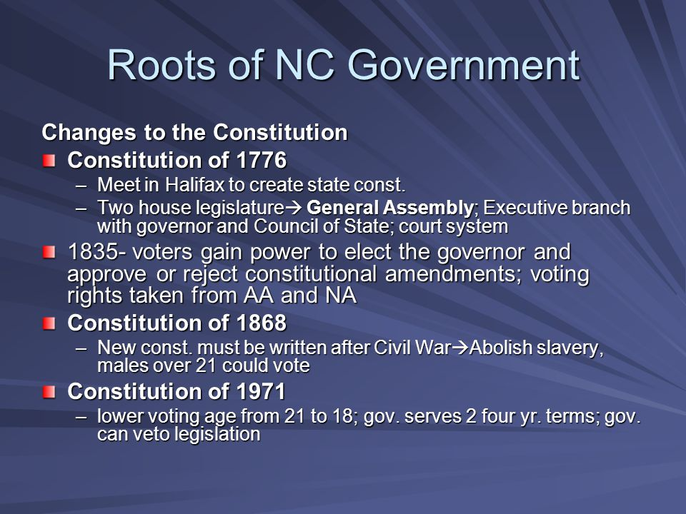 Roots of NC Government Changes to the Constitution