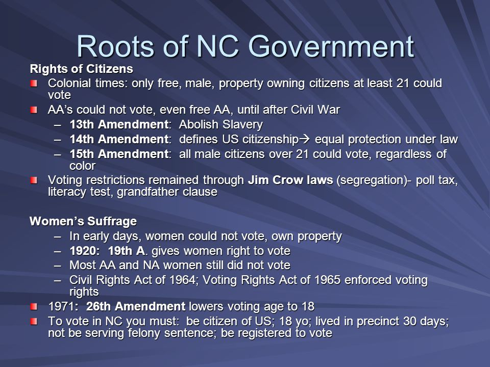 Roots of NC Government Rights of Citizens