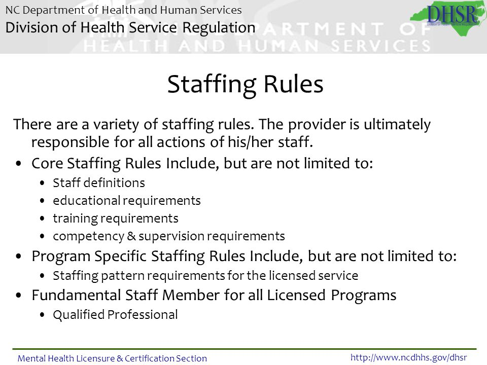 Staffing Rules There are a variety of staffing rules. The provider is ultimately responsible for all actions of his/her staff.