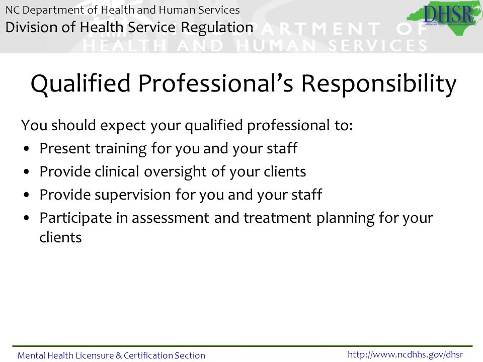 Qualified Professional's Responsibility