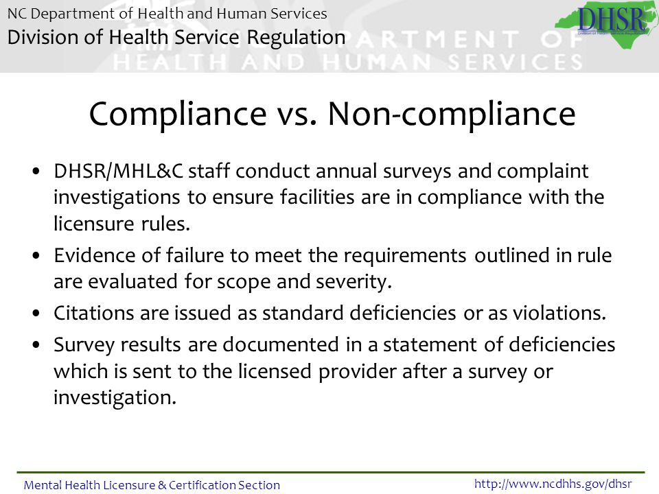 Compliance vs. Non-compliance