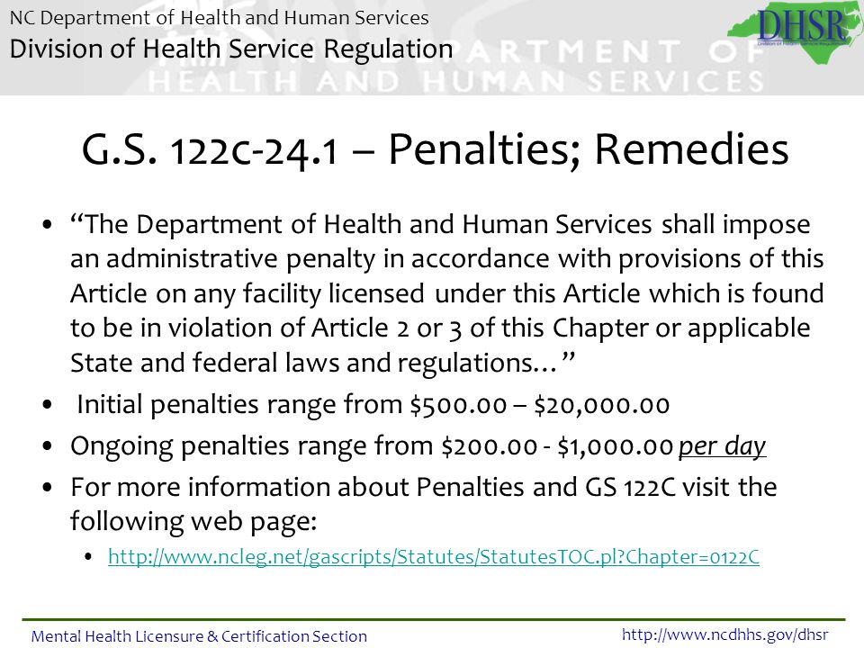 G.S. 122c-24.1 – Penalties; Remedies