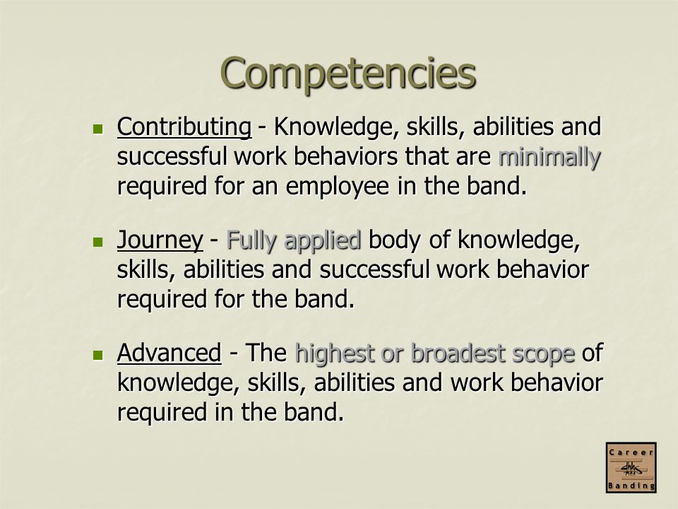 Competencies Contributing - Knowledge, skills, abilities and successful work behaviors that are minimally required for an employee in the band.