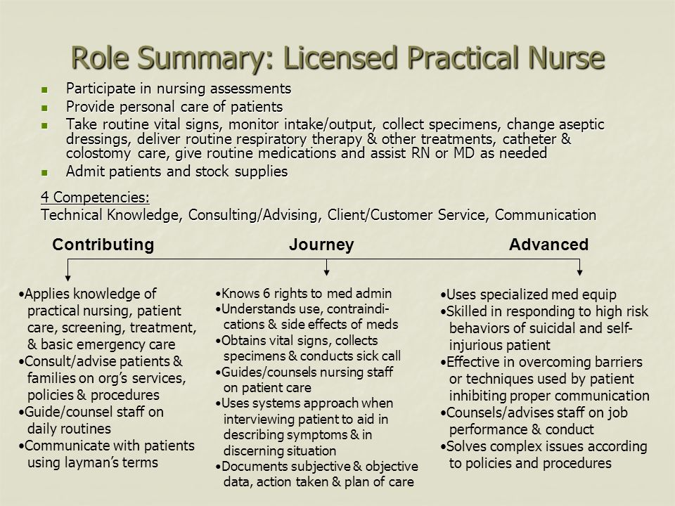 Role Summary: Licensed Practical Nurse