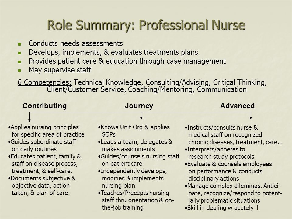 Role Summary: Professional Nurse