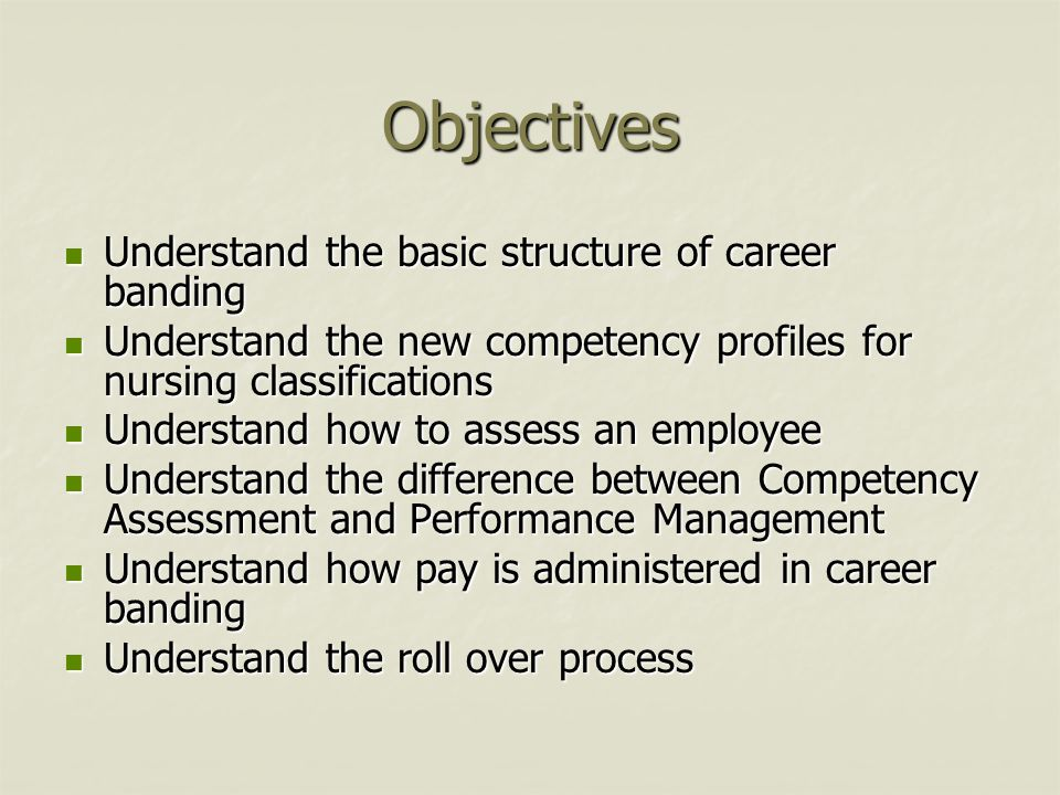 Objectives Understand the basic structure of career banding