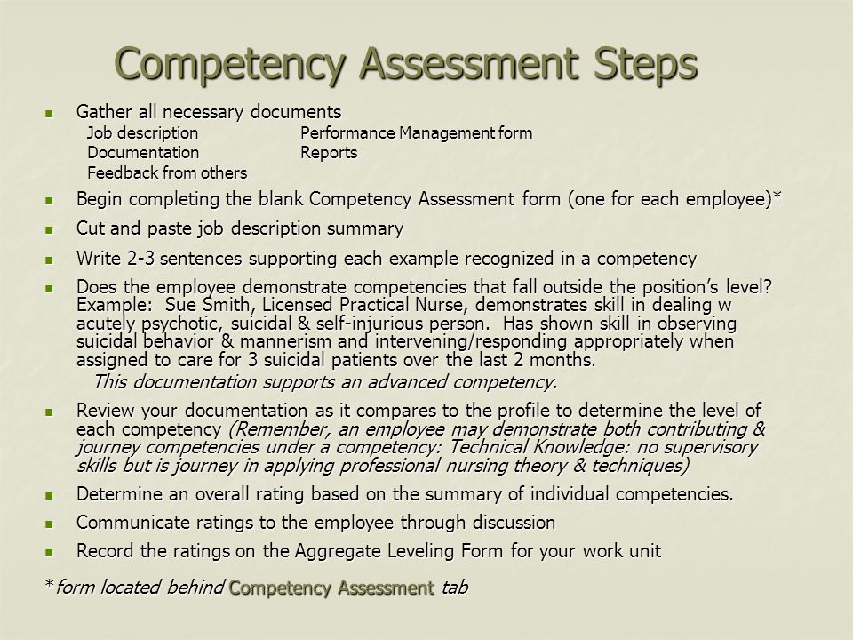 Competency Assessment Steps