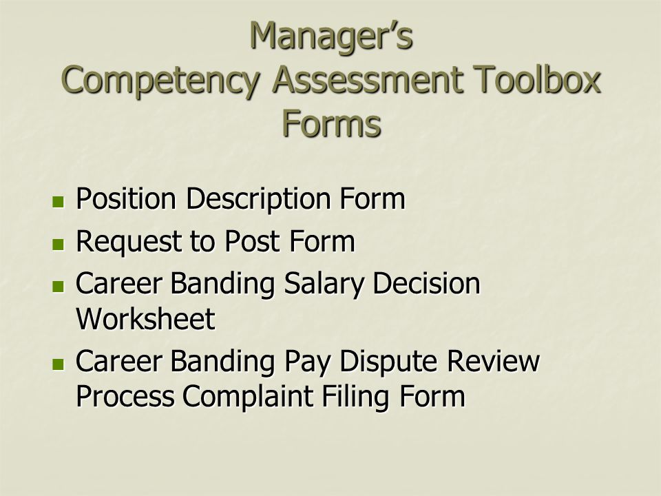 Manager's Competency Assessment Toolbox Forms