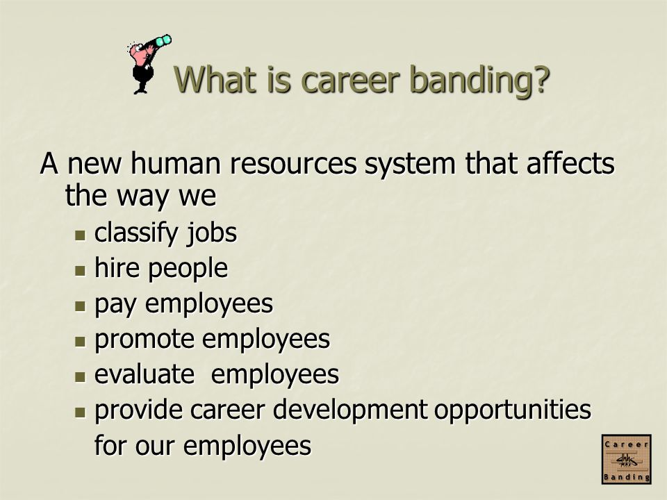 What is career banding A new human resources system that affects the way we. classify jobs. hire people.