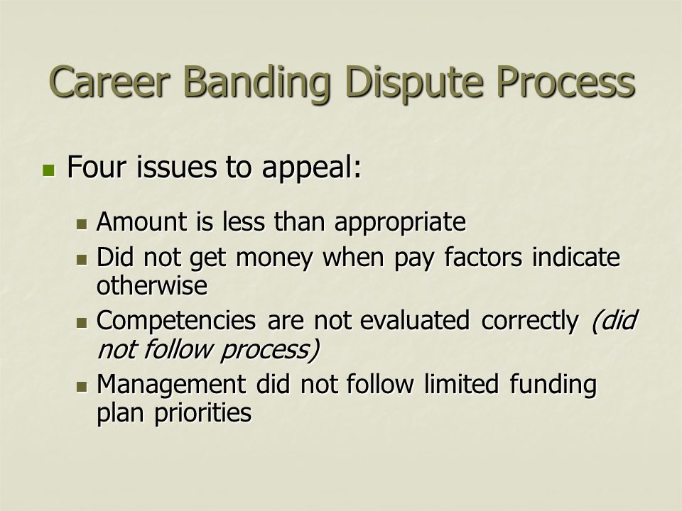 Career Banding Dispute Process