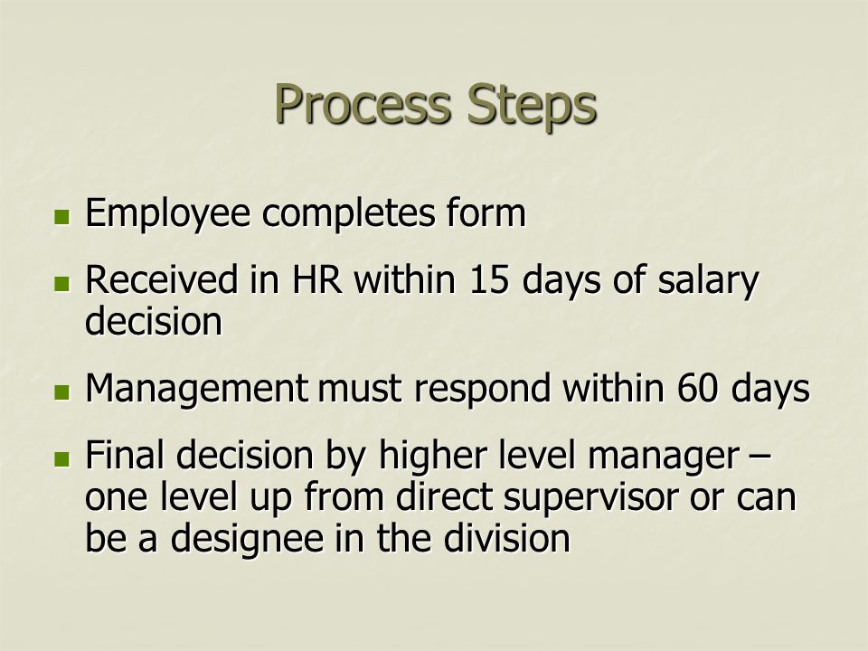 Process Steps Employee completes form