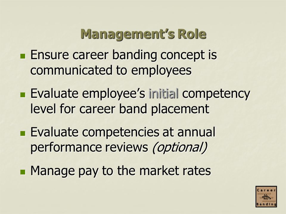 Management's Role Ensure career banding concept is communicated to employees. Evaluate employee's initial competency level for career band placement.