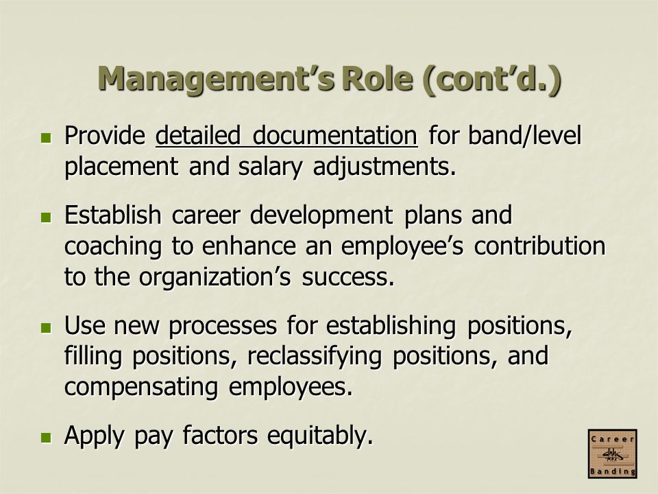 Management's Role (cont'd.)