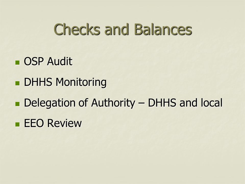 Checks and Balances OSP Audit DHHS Monitoring