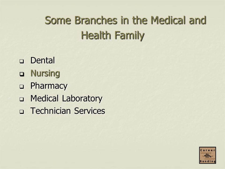 Some Branches in the Medical and Health Family