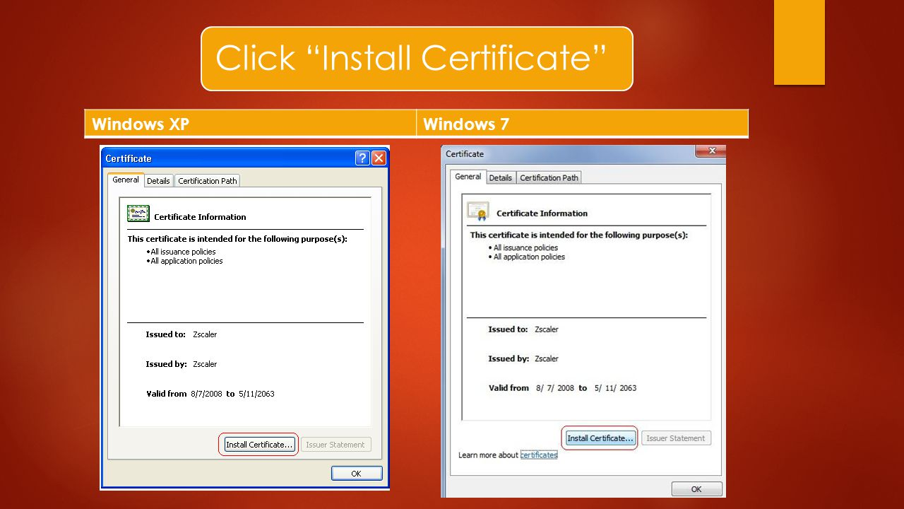 Click Install Certificate