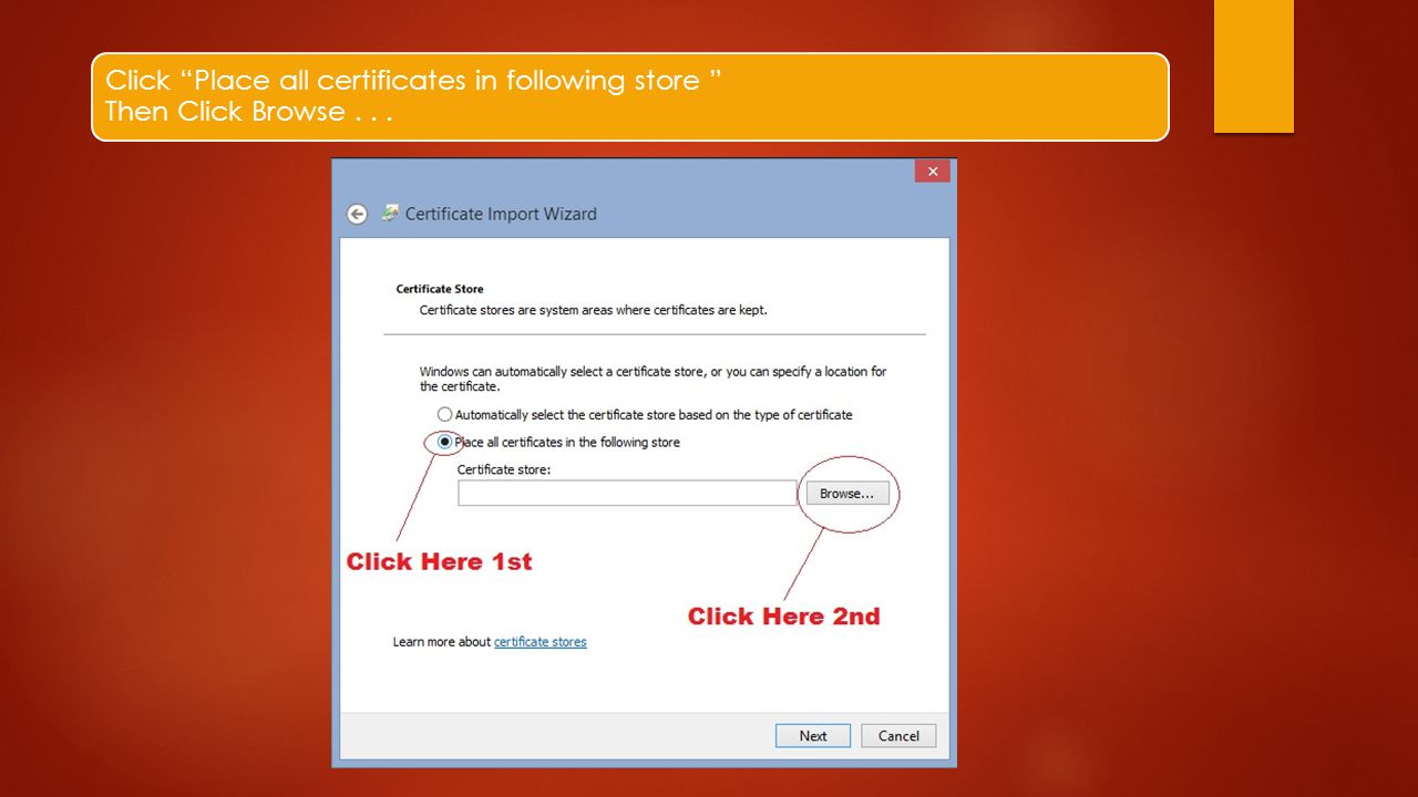 Click Place all certificates in following store Then Click Browse . . .