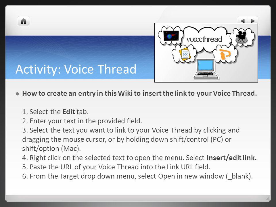 Activity: Voice Thread