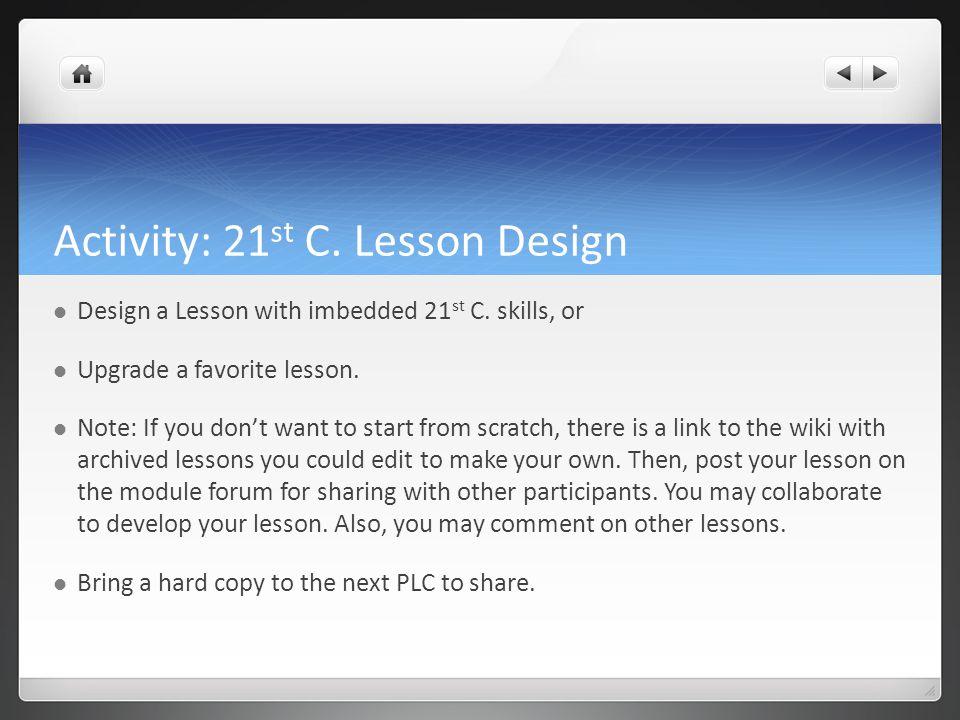 Activity: 21st C. Lesson Design