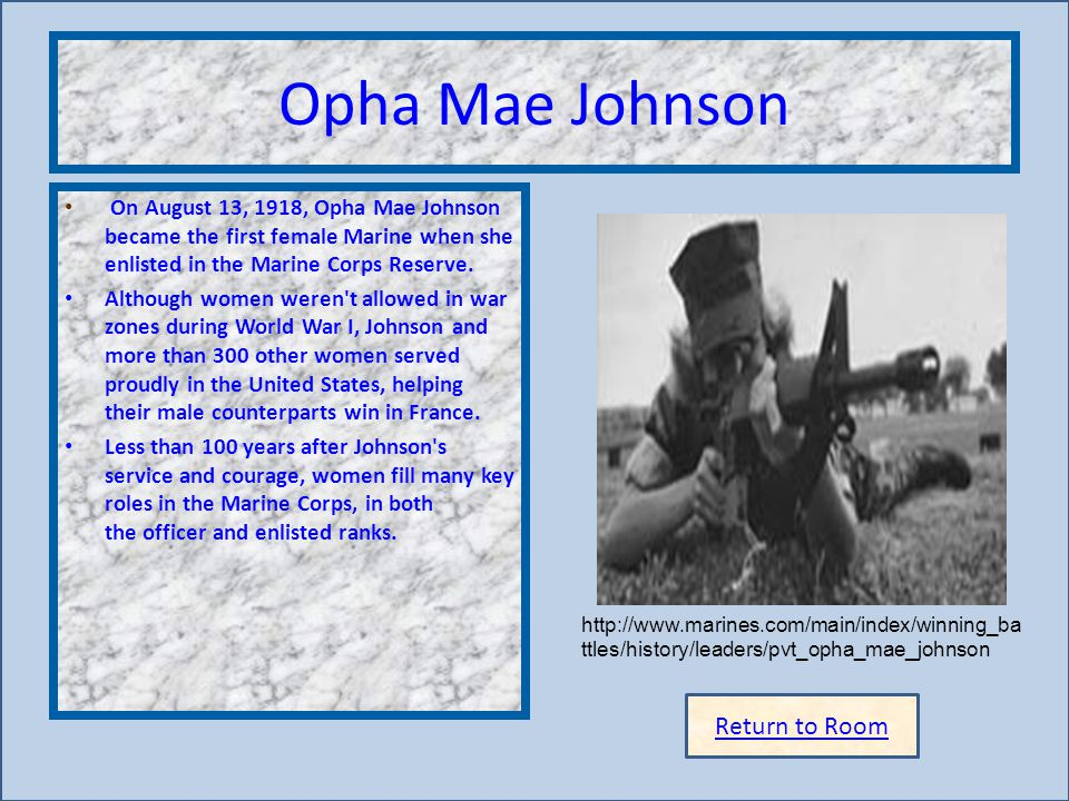 Opha Mae Johnson Insert artifact here Return to Room