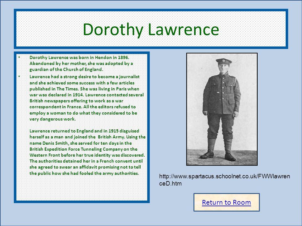 Dorothy Lawrence Return to Room