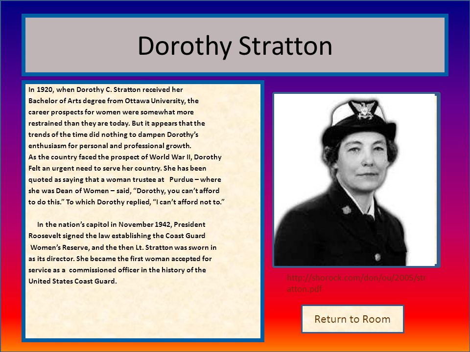 Dorothy Stratton Insert artifact here Return to Room