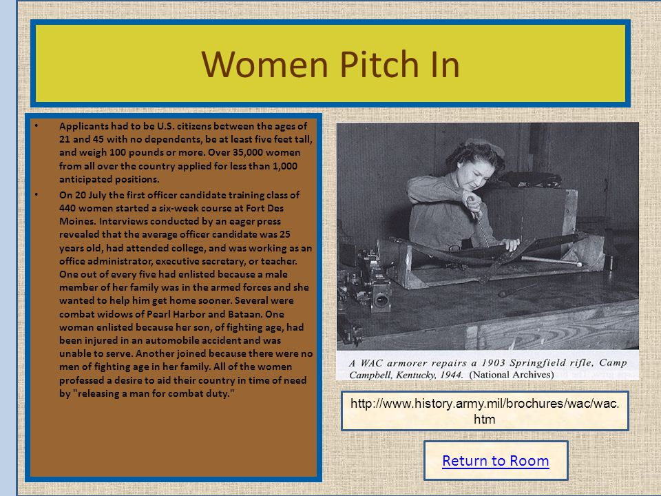 Women Pitch In Return to Room