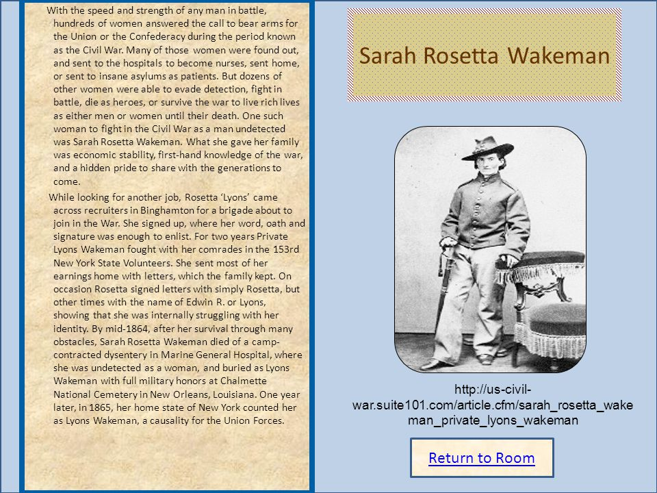 Sarah Rosetta Wakeman Return to Room
