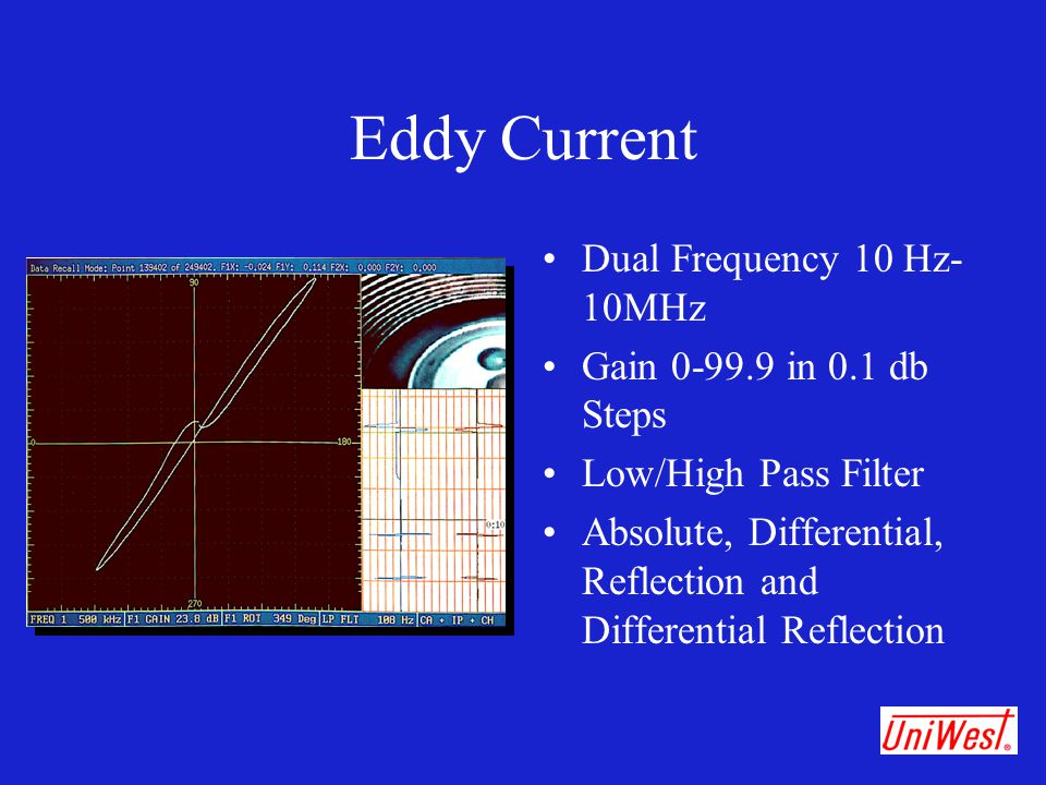Eddy Current Dual Frequency 10 Hz-10MHz Gain 0-99.9 in 0.1 db Steps