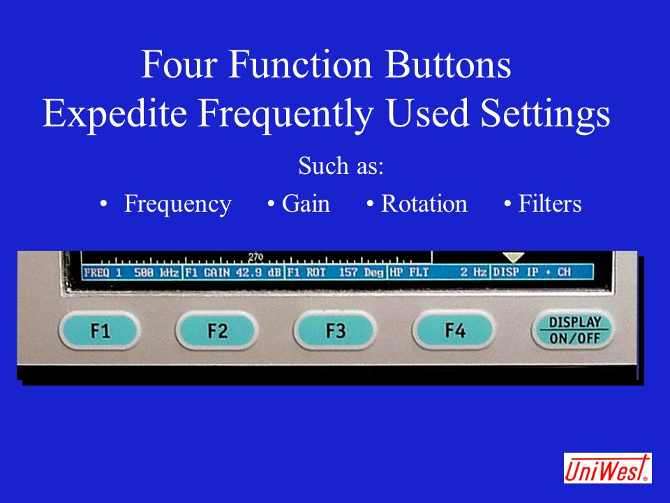 Four Function Buttons Expedite Frequently Used Settings