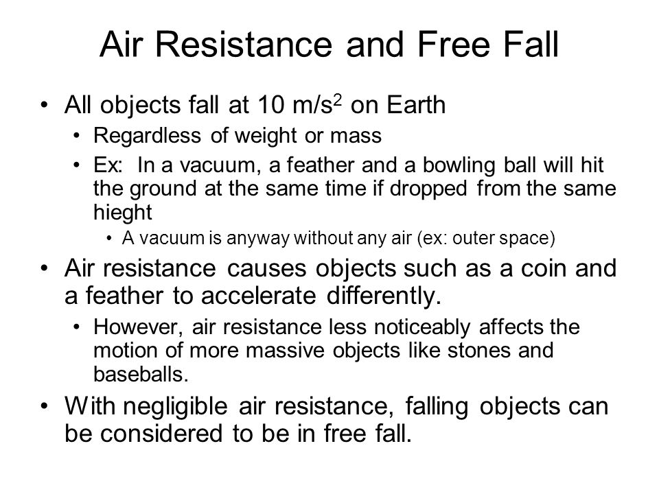 Air Resistance and Free Fall