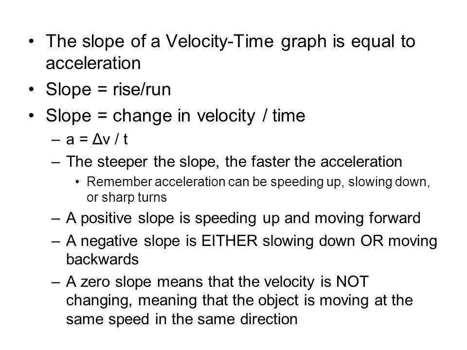 The slope of a Velocity-Time graph is equal to acceleration