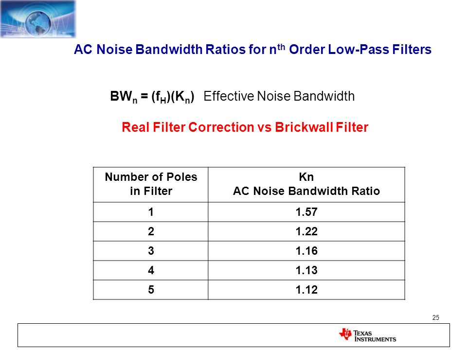 AC Noise Bandwidth Ratios for nth Order Low-Pass Filters
