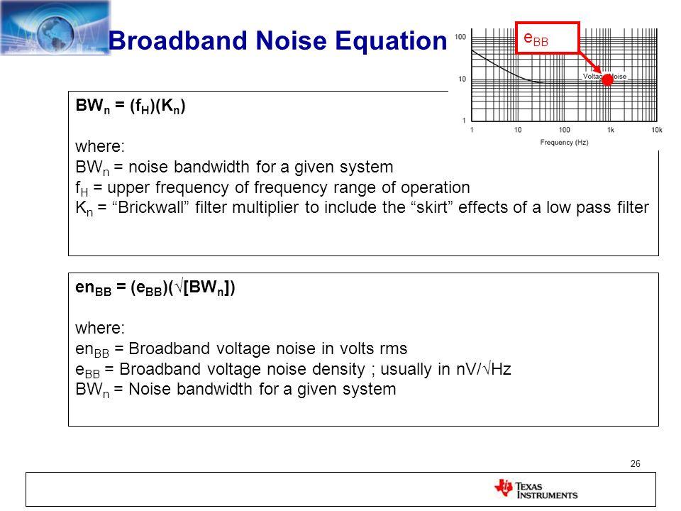 Broadband Noise Equation