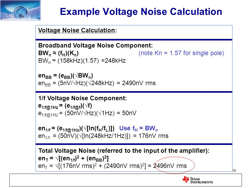 Example Voltage Noise Calculation
