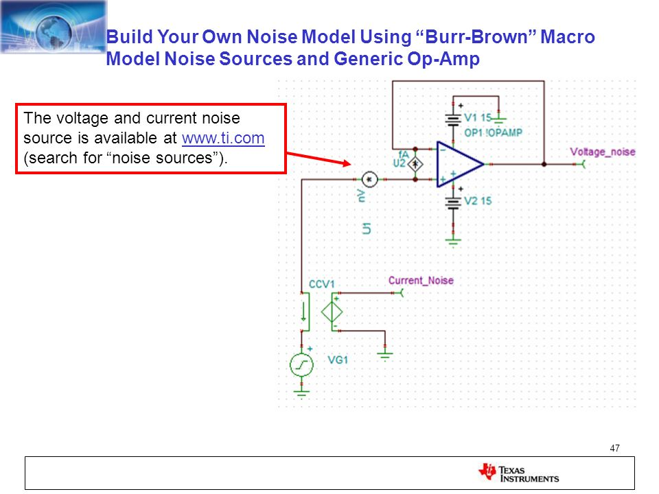 Build Your Own Noise Model Using Burr-Brown Macro Model Noise Sources and Generic Op-Amp