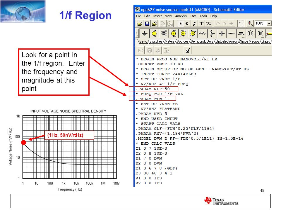 1/f RegionLook for a point in the 1/f region. Enter the frequency and magnitude at this point. (1Hz, 50nV/rtHz)
