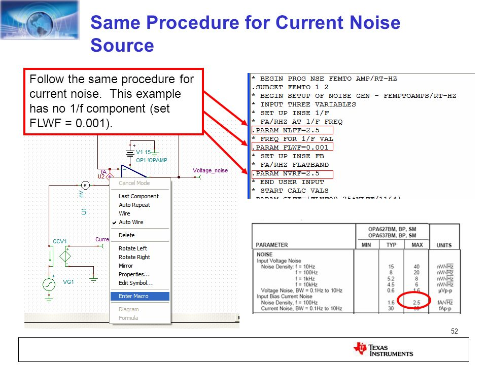 Same Procedure for Current Noise Source