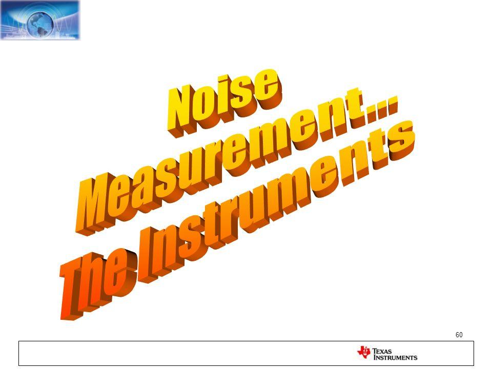 Noise Measurement... The Instruments