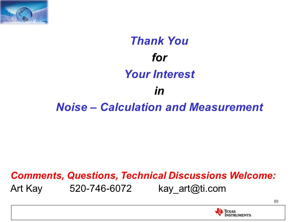 Noise – Calculation and Measurement
