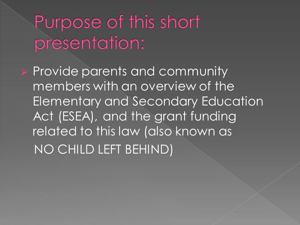 Purpose of this short presentation:
