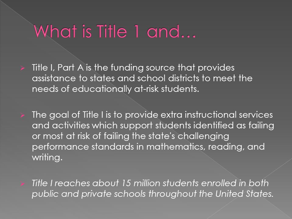 What is Title 1 and…