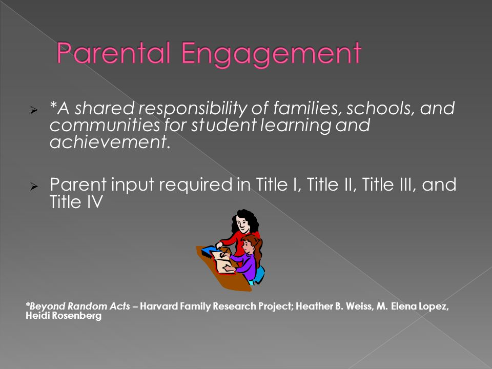 Parental Engagement *A shared responsibility of families, schools, and communities for student learning and achievement.