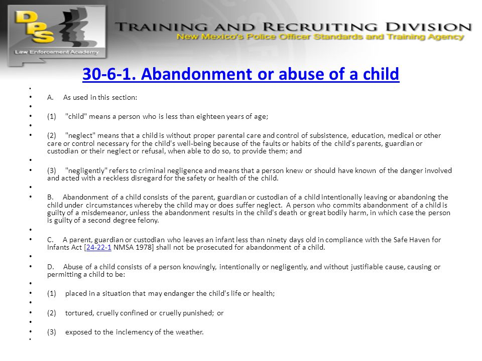 30-6-1. Abandonment or abuse of a child