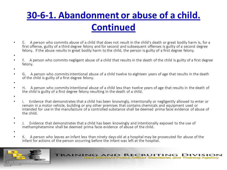 30-6-1. Abandonment or abuse of a child. Continued